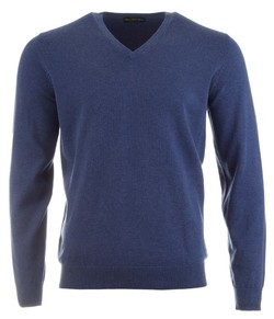 Alan Paine Rothwell Cotton-Cashmere V-Neck Pullover Indigo