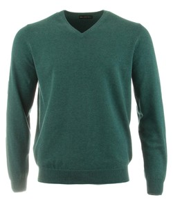 Alan Paine Rothwell Cotton-Cashmere V-Neck Pullover Moorland