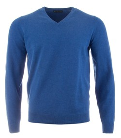 Alan Paine Rothwell Cotton-Cashmere V-Neck Pullover Regatta