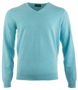 Alan Paine Rothwell Cotton-Cashmere V-Neck Pullover Sea Foam