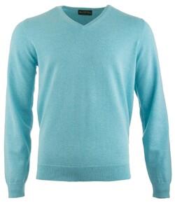 Alan Paine Rothwell Cotton-Cashmere V-Neck Pullover Sea Foam