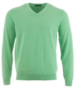 Alan Paine Rothwell Cotton-Cashmere V-Neck Pullover Spearmint