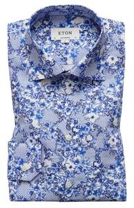 Eton Blue Azulejo Print Shirt Diep Blauw