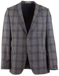 Atelier Torino Brunello Grey-Blue Check Jacket Mid Grey