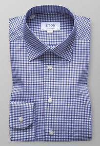Eton Fine Button Under Check Diep Blauw