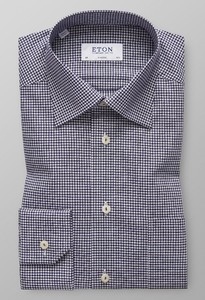 Eton Mini Check Embroidery Navy