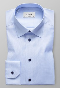 Eton Super Slim Button Under Licht Blauw Melange