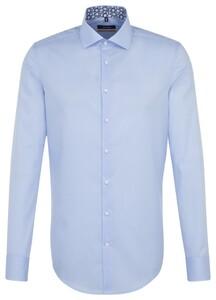 Seidensticker Spread Kent Uni Contrast Aqua Blue