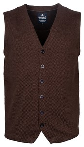 Baileys Buttons Structure Jersey Knit Gilet Donker Bruin