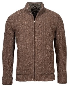 Baileys Cardigan Zip All Over Cable and Ribs Knit Cardigan Brown