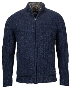Baileys Cardigan Zip All Over Cable and Ribs Knit Cardigan Dark Evening Blue