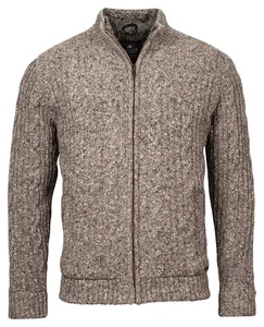 Baileys Cardigan Zip All Over Cable and Ribs Knit Cardigan Khaki
