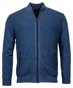 Baileys Cardigan Zip Front Panel Structure Knit Vest Blauw