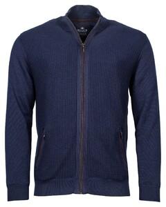 Baileys Cardigan Zip Front Panel Structure Knit Vest Night Blue Melange