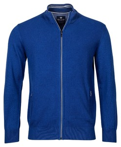 Baileys Cardigan Zip Uni Front Part Structure Knit Vest Midden Blauw