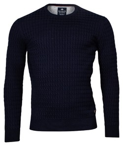 Baileys Crew Neck Cable Knit Cotton Trui Dark Navy