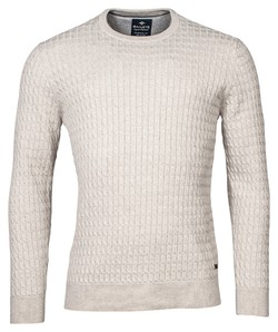Baileys Crew Neck Cable Knit Cotton Trui Licht Beige