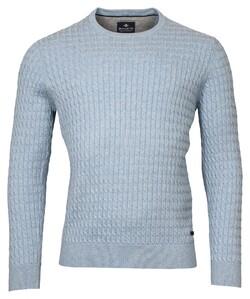 Baileys Crew Neck Cable Knit Cotton Trui Placid Blue