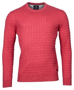 Baileys Crew Neck Cable Knit Cotton Trui Raspberry Wine