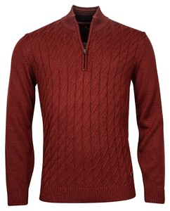 Baileys Pullover Zip Frontbody Cable Structure Pattern Trui Brique