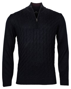 Baileys Pullover Zip Frontbody Cable Structure Pattern Trui Dark Navy