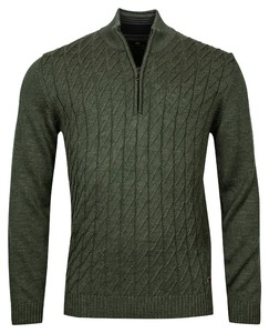 Baileys Pullover Zip Frontbody Cable Structure Pattern Trui Groen