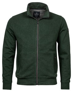 Baileys Sweat Cardigan Zip Front Flatknit Fine Structure Cardigan Green