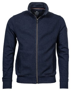Baileys Sweat Cardigan Zip Front Flatknit Fine Structure Vest Night Blue