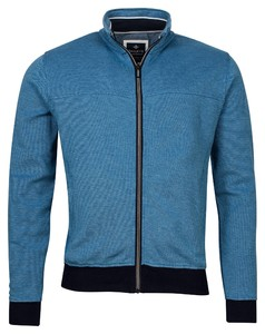 Baileys Sweat Zip 2-Tone Oxford Doubleface Jacquard Interlock Vest Blauw