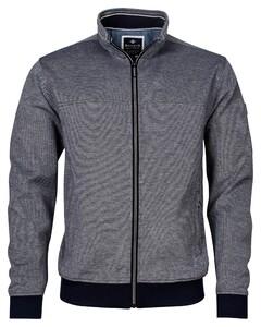 Baileys Sweat Zip 2-Tone Oxford Doubleface Jacquard Interlock Vest Dark Navy