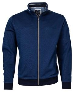 Baileys Sweat Zip 2-Tone Oxford Doubleface Jacquard Interlock Vest Donker Blauw