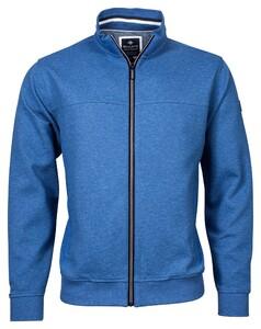 Baileys Sweat Zip 2-tone Structure Jacquard Interlock Vest Licht Blauw Melange