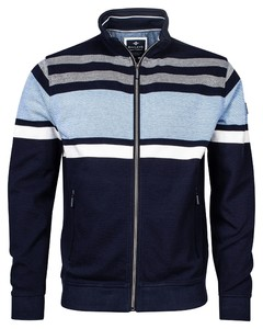 Baileys Sweat Zip Jacquard Piqué Stripes Vest Dark Navy