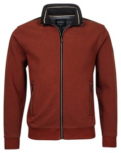 Baileys Sweat Zip Two Tone Structure Jacquard Interlock French Terry Cardigan Brique