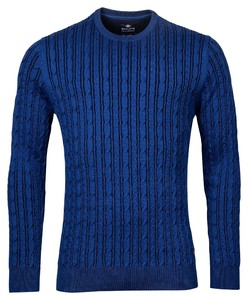 Baileys Uni Crew Neck Striped Cable Knit Trui Blauw