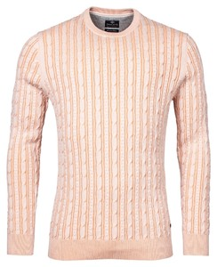 Baileys Uni Crew Neck Striped Cable Knit Trui Coral Reef