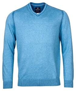 Baileys Uni Fine Contrast V-Neck Pullover Blue
