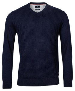 Baileys Uni V-Neck Structure Trui Dark Navy
