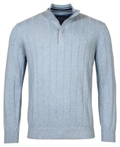 Baileys Uni Zip Stripe Pullover Trui Placid Blue