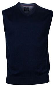 Baileys Wool Cotton Spencer V-Neck Slip-Over Night Blue Melange