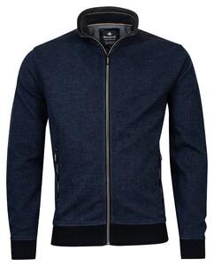 Baileys Zip 2-Tone Jacquard Interlock Cardigan Jeans Blue