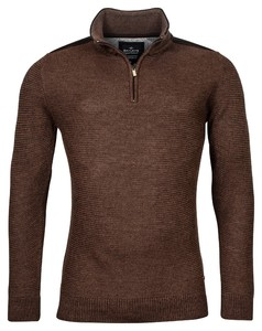 Baileys Zip Collar All Over Structure Knit Pullover Brown