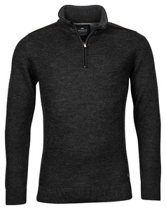 Baileys Zip Collar All Over Structure Knit Trui Donker Antraciet