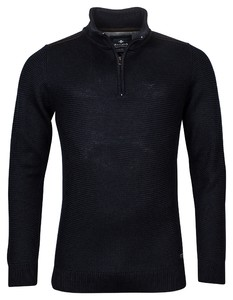 Baileys Zip Collar All Over Structure Knit Trui Donker Blauw