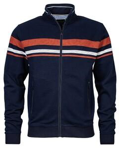 Baileys Zip Jacquard Sweat Stripes Vest Brique