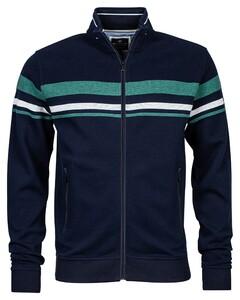 Baileys Zip Jacquard Sweat Stripes Vest Dark Sea Green