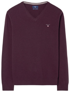 Gant Super Fine Lambswool V-Neck Dark Burgundy Melange