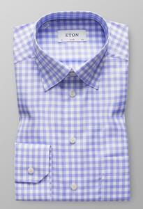 Eton Button Under Gingham Check Pastel Blauw