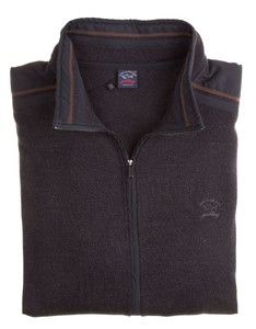 Paul & Shark Shoulder Contrasted Wool Vest Antraciet