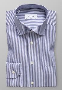 Eton Striped Subtle Stretch Shirt Donker Blauw